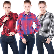 Dioufond Large Sizes Long Sleeve Plaid Shirt Women Winter Flannel Checkered Plus Size Women Blouses 5XL Winter Cotton Blouse
