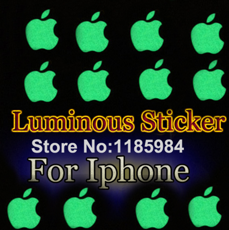 Zero Profit DIY Luminescent Logo sticker for Apple iphone 3GS/4/4S/5 green natural light luminous sticker Mobile Phone Stickers