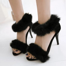 New Sexy Rabbit Fur Open Toe Stiletto High-Heeled Sandals Summer Women Shoes Gladiator Ankle Strappy Beautiful Sandals US10.5(China (Mainland))