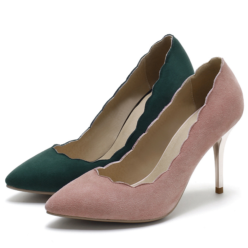 Фотография high quality nubucked genuine sheepskin 9 cm thin high heels shoes women pumps 2016 classic ruffles office ladies working pump