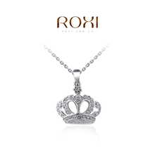 2015 Roxi Fashion Women s Jewelry High Quality Rose Gold Plated Crown Shaped Pendant Necklace With