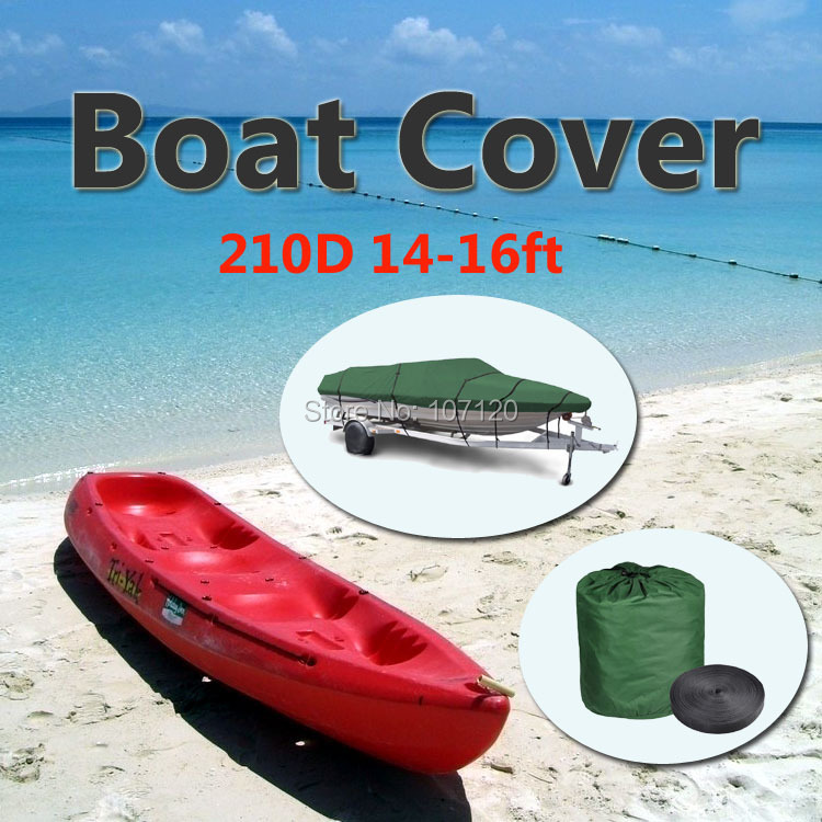 2015 New High Quality 210D Speedboat Camping Fishing Boat Cover 14ft - 16ft Sunproof Fish Waterproof UV Protected - Green