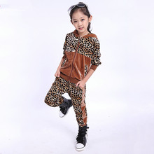Leopard girls cotton velvet clothing sets New 2014 child girl casual sport sweater+pants 2pcs sets hot selling autumn(China (Mainland))