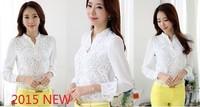 Женские блузки и Рубашки Round Neck Chiffon Lace Shirts 2015 Szie XXXL xXXXL 503B