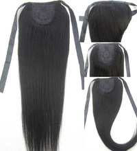 """16""""-32"""" 100% Brazilian Remy hair Clips In/on Human Hair Extensions Horsetail Ponytail #1 jet black 80g 100g 120g140g(China (Mainland))"""