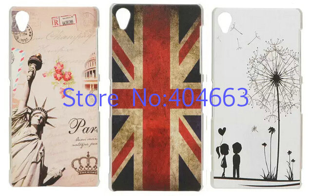 Free Shipping New Lovely Funny Cute Cartoon Colorful Pattern Hard Plastic Skin Back Cover For Sony Xperia Z3 Case YJ01(China (Mainland))