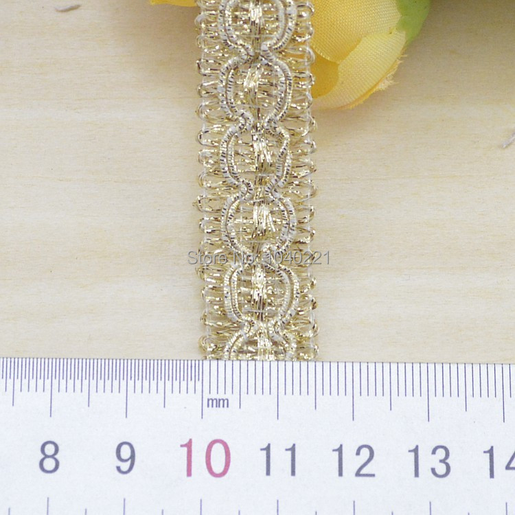 10 yards/lot cheap lace trim crocheted sewing braided lace High quality 1.5cm gold braid lace ribbon DIY clothes accessories(China (Mainland))
