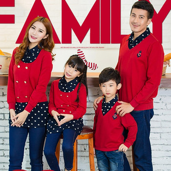 2015 autumn family look clothing mother and daughter clothes family matching outfits father son kids sweater shirt for Christmas