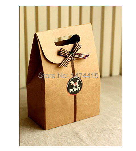 kraft paper box for Candy Cookie chocolate packaging bag, brown baking snack package Size10*6*15.5cm Free shipping(China (Mainland))