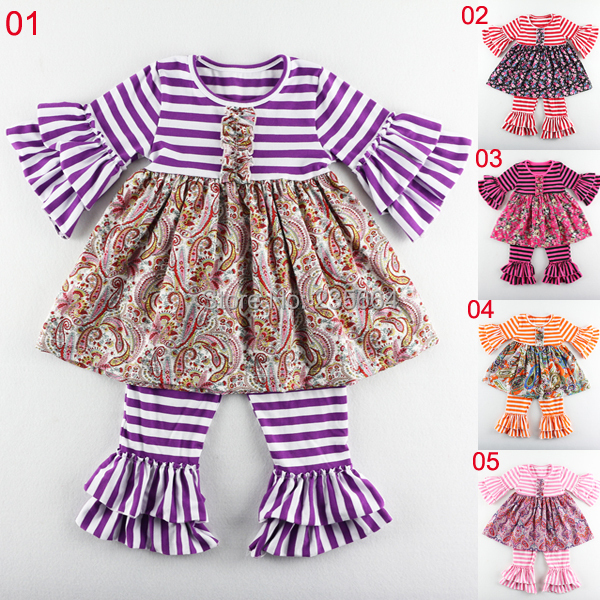 Spring Design Baby Toddler Clothing Girls Outfits boutique stripe floral baby clothing set / children baby girls outfit/Pant Set(China (Mainland))
