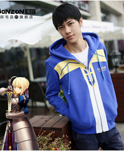 Fate/stay night Saber zero King Arthur Caliburn & Excalibur cosplay costume blue master coat jacket hoodie(China (Mainland))