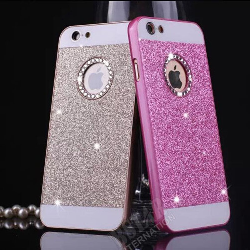 wonderful colors show logo glitter powder Bling hard plastic back cover phone case iphone 6 6S - RobotSky Official Electronic Store store