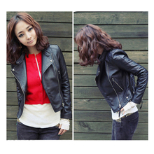New Arrival 2015 Autum & Winter Women Motorcycle Leather Jacket Slim Casual Coat(China (Mainland))