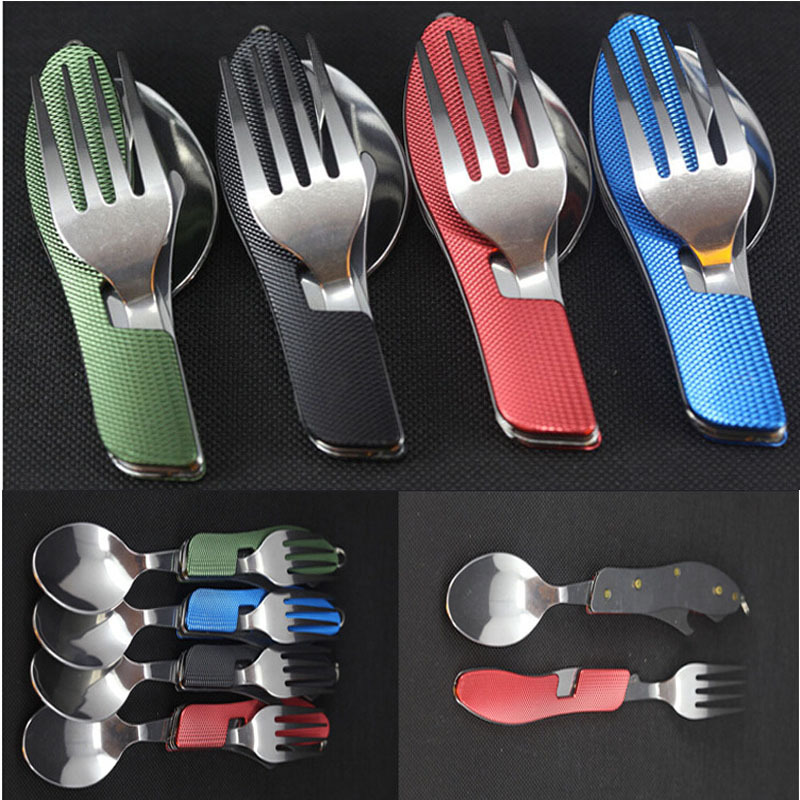 EDC Outdoor camping supplies Multi-functional multi-purpose Spoon Fork knife tableware portable tools DS-2019(China (Mainland))
