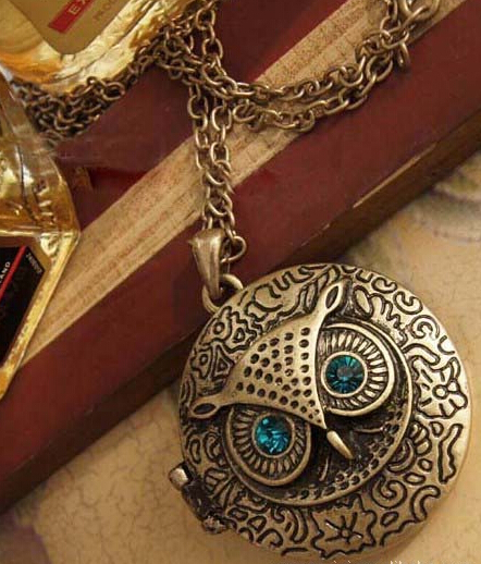 Vintage Blue Eyes Cute Retro owl sweater chain round box can be opened Owl Chain Necklace Fashion Vintage Necklaces(China (Mainland))