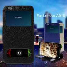 For Lenovo A 916 Bag Dual View Windows Silk Texture Magnetic Leather Stand Case for Lenovo A916 Cover