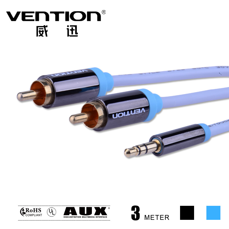 Vention 3M black blue Stereo 3.5mm male to 2 RCA Cable audio 3.5 jack aux cables digital data cables for car video/TV computer(China (Mainland))