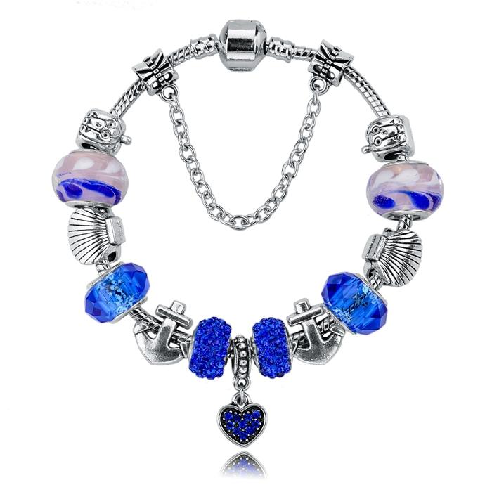 2015 New Arrival Charm Bracelets&Bangles Silver Blue Glas Beads 19cm*3cm Snake Chain Jewelry Bracelets For Women SBR140712(China (Mainland))