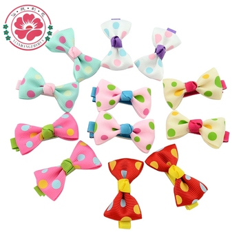 20 Pcs/lot Hot Candy Color Solid/ Dot/ Flower Print Ribbon Bow Hairpin BB Hair Clips for Baby Girls Kids Hair Accessories 601