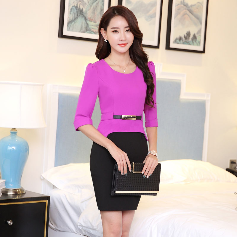 New Elegant Purple Half Sleve Spring Summer Slim Fashion ...