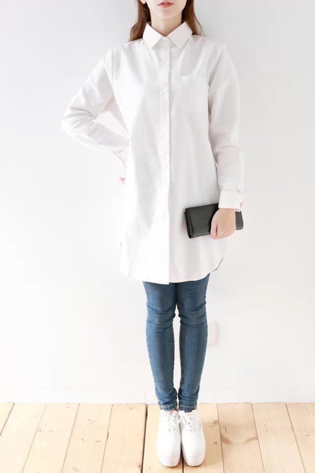 High Count 100 Cotton Long Shirt Casual White Women