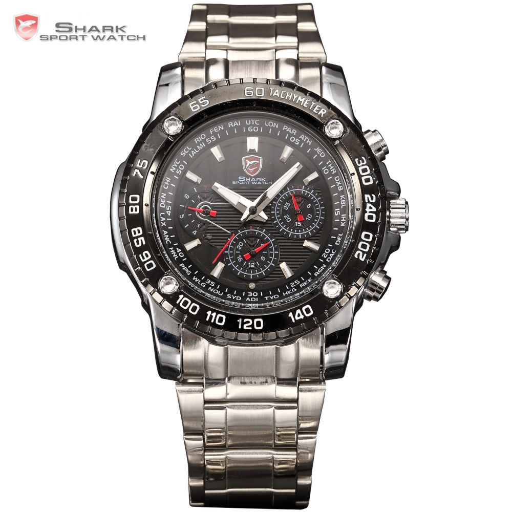 SHARK Sport Watch 6 Hands Day Date Calendar Stainless Full Steel Black Silver Luminous Wrap Men's Quartz Wristwatch Gift / SH015