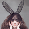 OEM Fashion headbands novelty adult sexy black rabbit bunny ears veil barrettes solid women headwear cn
