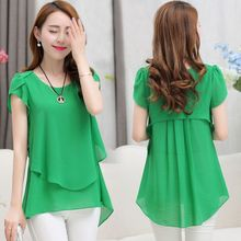 Brand new 2016 fashion women blouses plus size loose casual blusas sexy solid short sleeve o-neck summer chiffon shirt tops