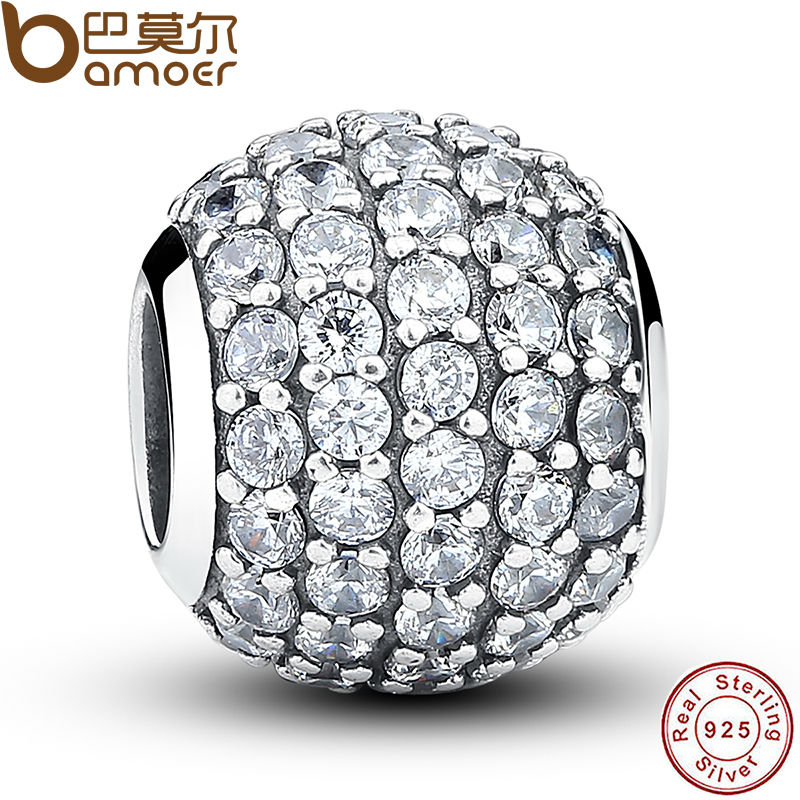 925 Sterling Silver Pave Czech Bead BALL Charm Fit Bracelet With Clear Cubic Zirconia DIY Accessories Jewelry PAS069(China (Mainland))