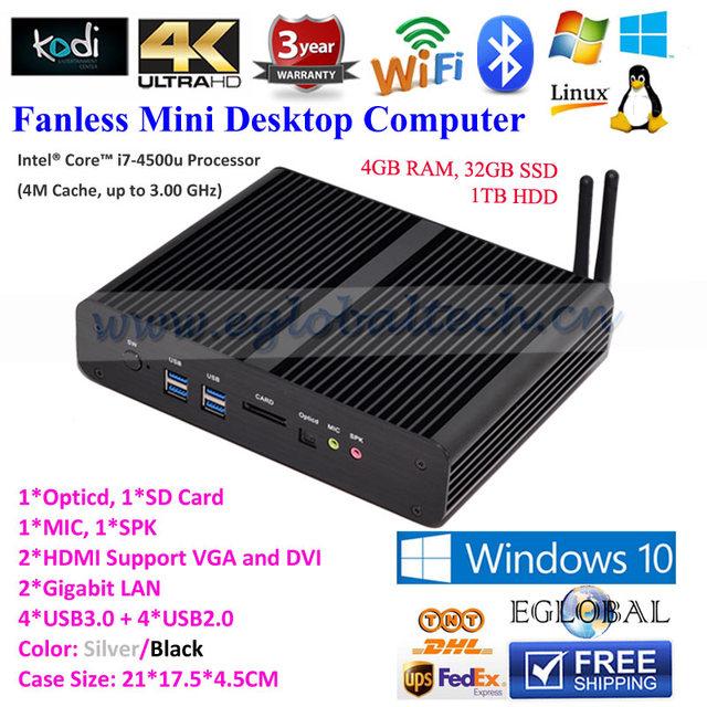 HDMI Thin Client Fanless Mini PC Desktop Computer Intel Core i7 4500u 4GB DDR3 32GB SSD 1TB HDD for 4K HTPC TV Box Windows 10