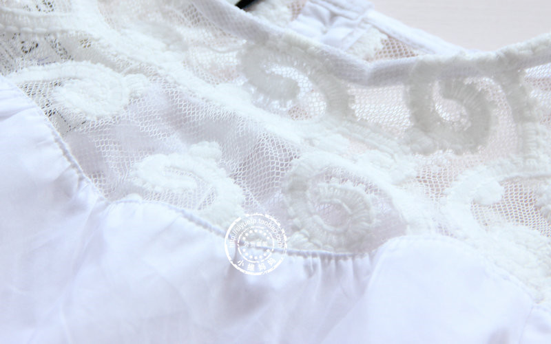 Girl's Korean Lace Blouse Stitching Cotton Kids Shirts Clothing White