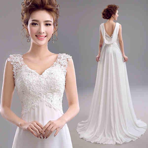New Fashion Wedding Dresses 2015 Appliques Lace Sleeveless Bridal Dresses Lace Up A Line Chiffon