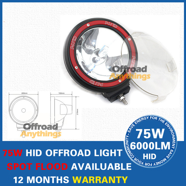 8 PCS EMS Free Shipping 7'' 55W 12V Offroad Light 100W HID Drive Light H3 Slim Ballast Spotlight Free Cover Hid Work Light