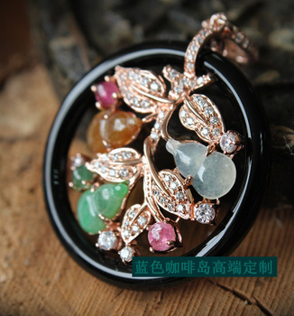 Natural a jade multicolour natural tourmaline zircon 925 silver 3 18k rose gold pendant