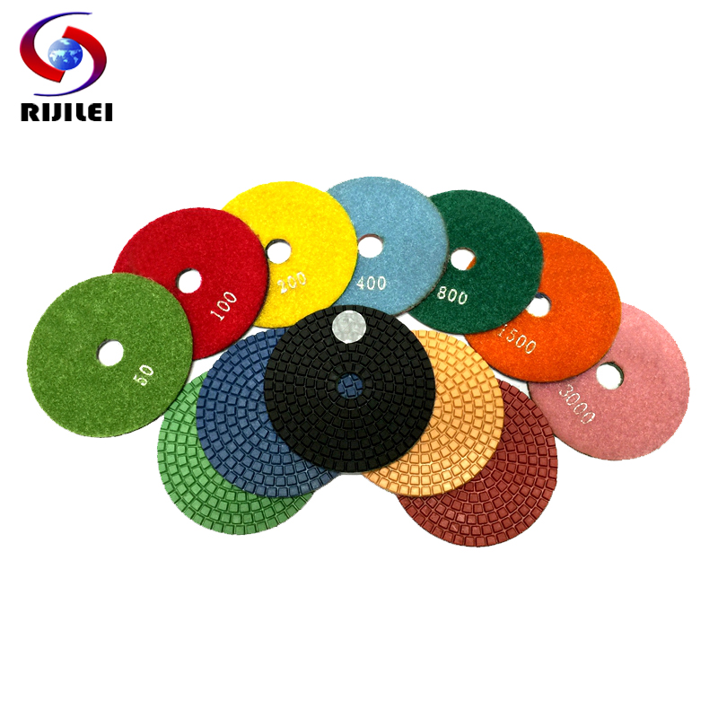 (4DS1) 7 pieces/lot 4inch/100mm Wet Polishing Pads,diamond polishing pads granite marble,Flexible polish pad,sanding pad - RIJILEI GZ Store store