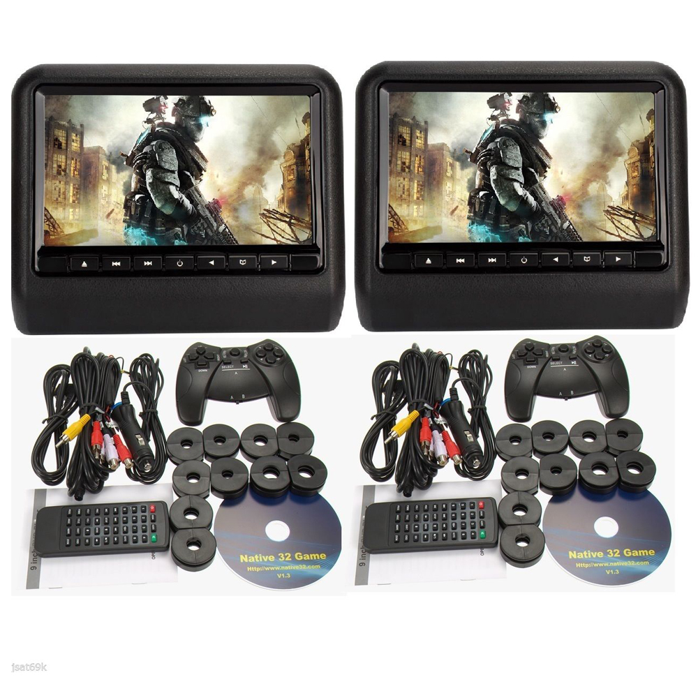 9inch 1x headrest car dvd player+ 1x car headrst monitor with 32Bit Games+USB+SD+IR/FM transmitter,(China (Mainland))