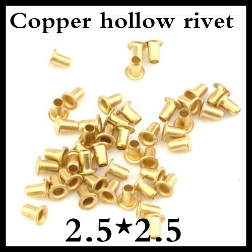 500pcs /lot High Quality M2.5(d)*2.5(L)mm  2.5mm Brand New Copper Hollow Rivet Double-sided circuit board PCB vias nails<br><br>Aliexpress