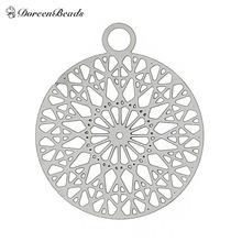 "Filigree Stainless Steel Charm Pendants Round Silver Tone Flower Hollow Carved 22mm( 7/8"") x 18mm( 6/8""),2 PCs 2016 new(China (Mainland))"
