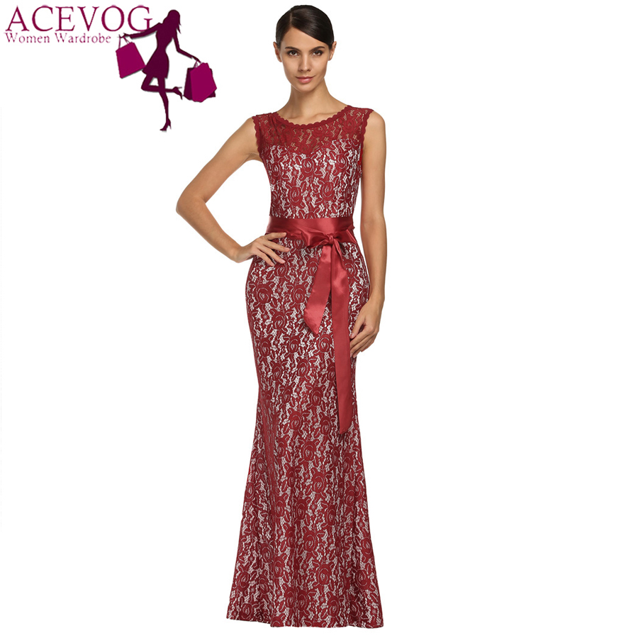 ACEVOG Brand Women Maxi Long Dress Elegant Ladies Tunic Floral Lace Mermaid Formal Bodycon Dresses Vestido Longo Plus Size M-XXL(China (Mainland))