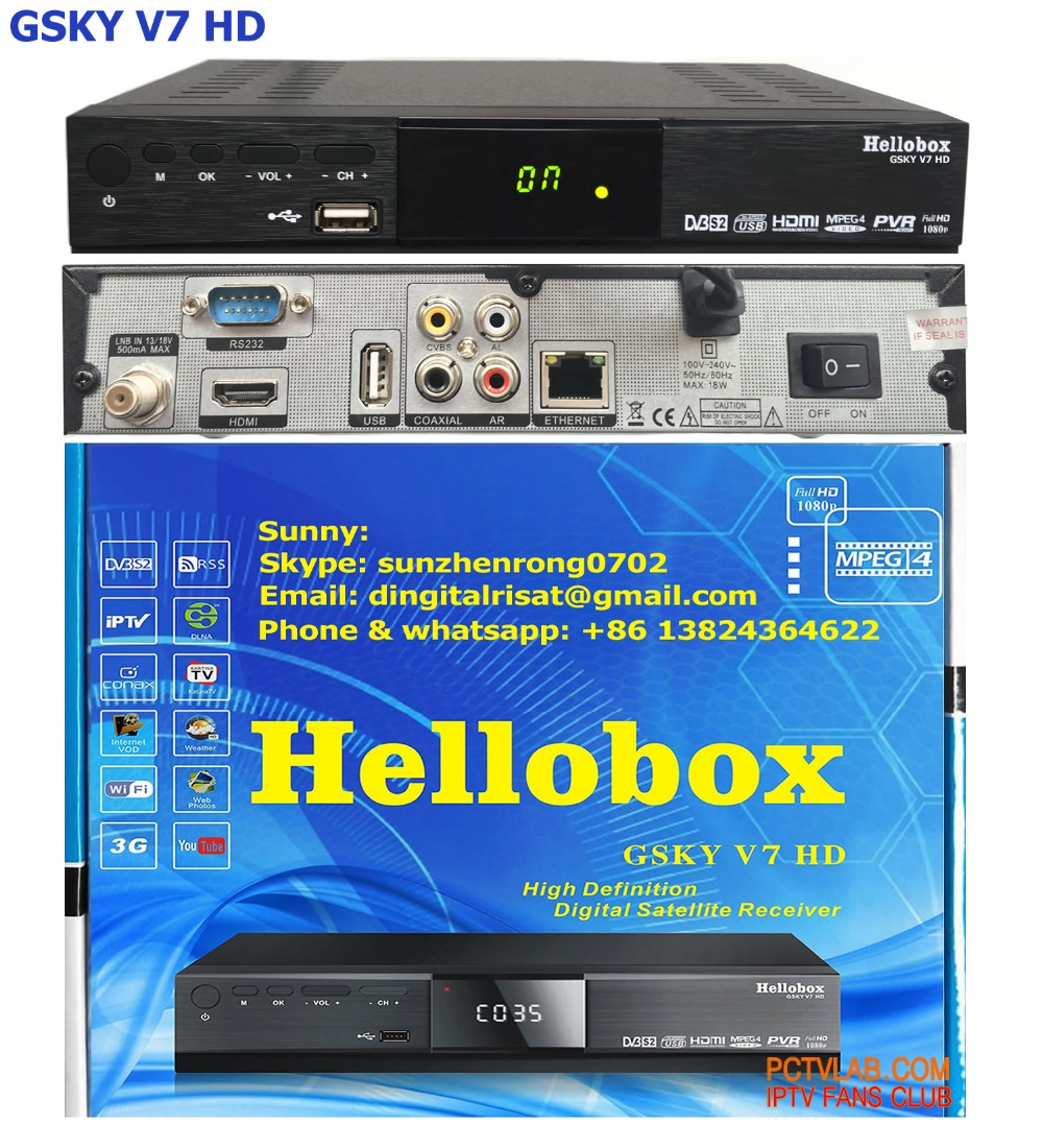 Hellobox gsky V7 support powervu decoder cover all South America and North America total 24 satellite and >130 TPs are powervu(China (Mainland))