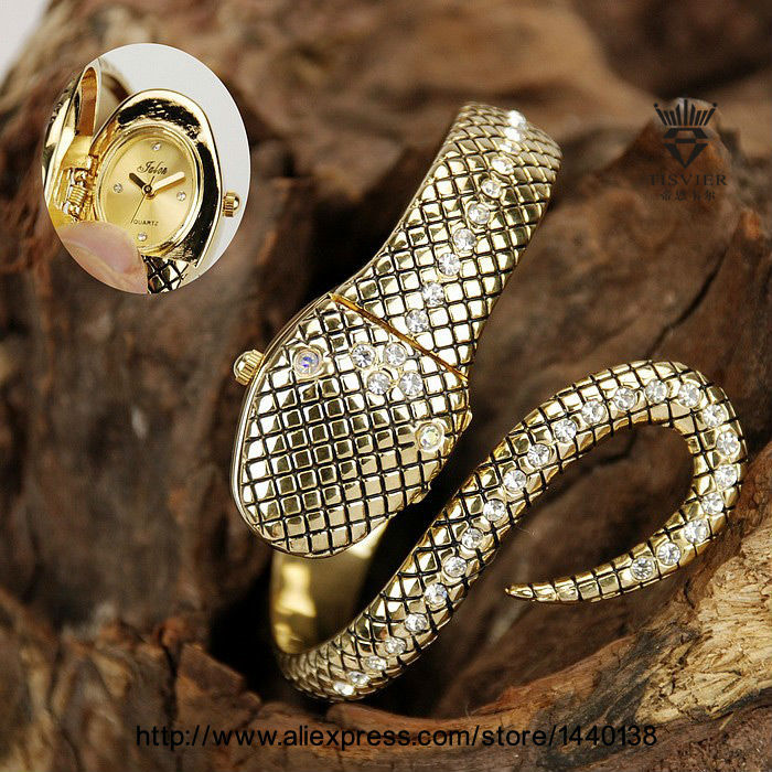 Wholesale Famous Luxury Brand Fashion Jewelry Wristwatch Hidden Face Silver Gold Snake Quartz Bracelet Bangle Watch women Gift(China (Mainland))