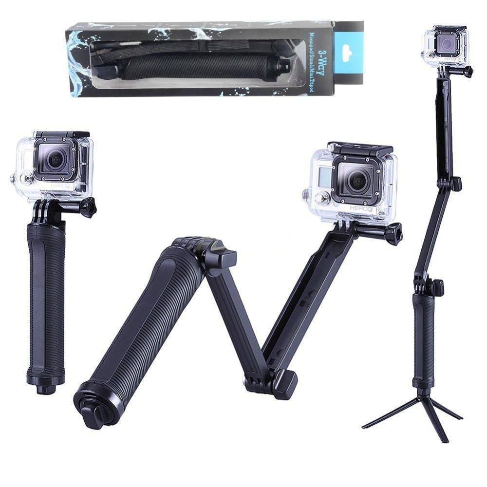 New GoPro Accessories Collapsible 3 Way Monopod Mount Camera Grip Extension Arm Tripod for Gopro Hero 4 2 3 3+ 2 1 SJ4000 SJ5000(China (Mainland))