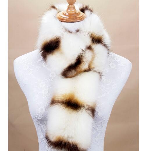 winter warm faux fox fur raccoon scarf multi color unique pattern fur collar print fur scarves women fashion winter scarf(China (Mainland))