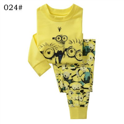 Kids fall Clothes boys girls Clothing Set  Sets Minions Yellow hoody sweatshirt pants 2 pcs winter Size for 2 3 4 5 6 7 years (1)