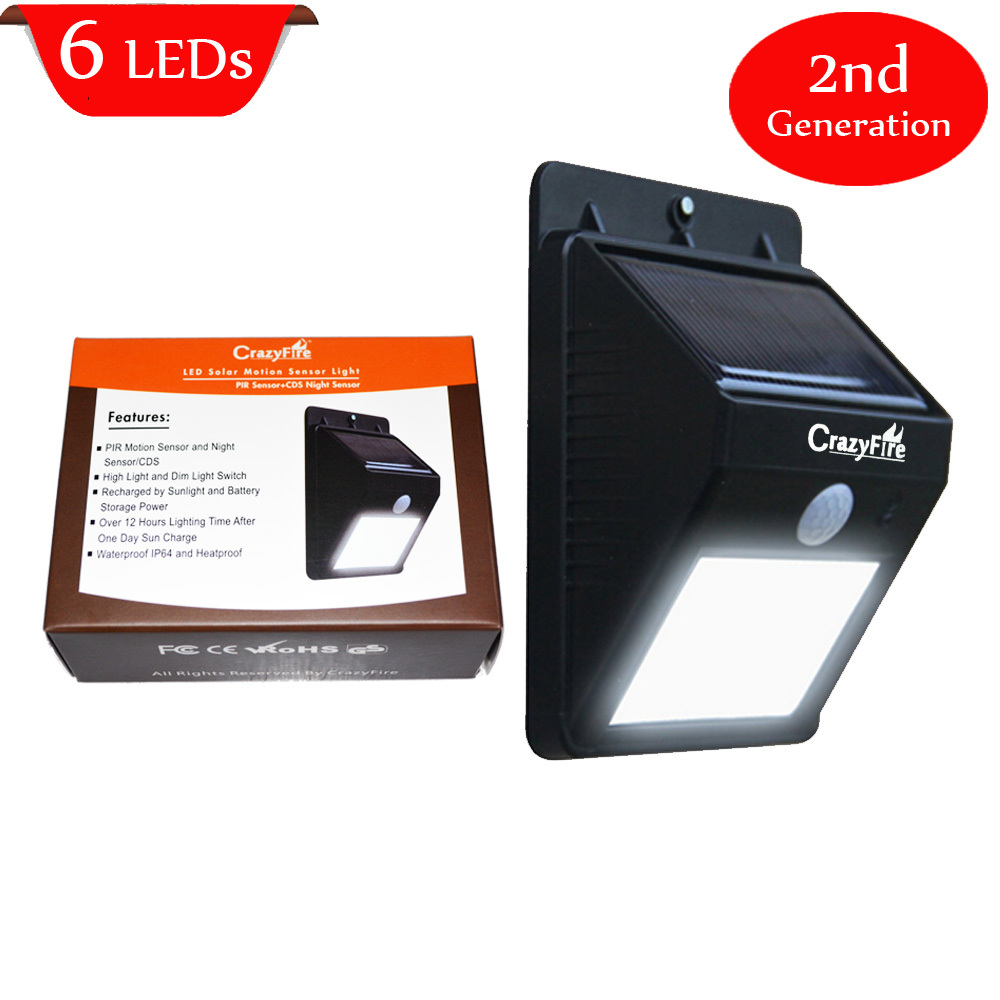 US Stock 2nd generation 6 LED Solar Powered Sensor Light Outdoor Garden Wall Lamp Lighting IP65 waterproof (Hong Kong)