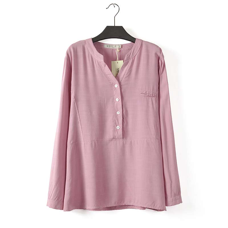 F1 Women Blouse Plus Size Casual spring clothing XL-4XL Female solid color COTTON & LINEN loose longsleeve V-neck shirt(China (Mainland))