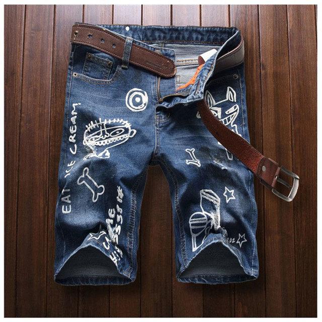 Мода мужчины печатные джинсы мультфильм печать джинсы 2016 нищий анти-почесал брюки ...