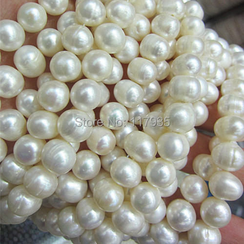 On sale Wholesale free shipping A 10mm genuine natural freshwater pearl white rould glossy beads 15' strand/lot jewelry making(China (Mainland))