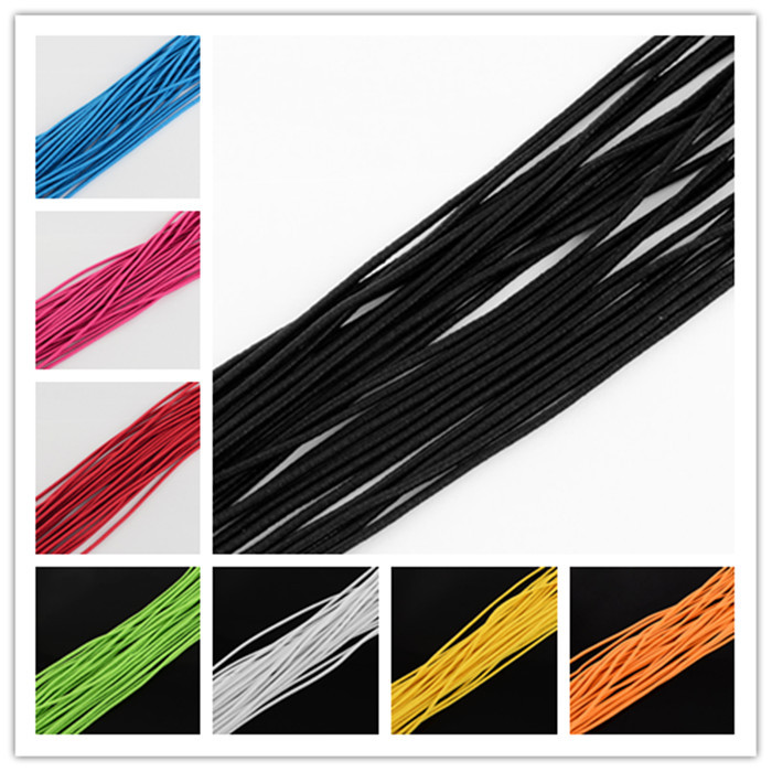 Elastic Cord, with Fibre Outside and Rubber Inside, Black, 2mm; about 100m/bundle<br><br>Aliexpress