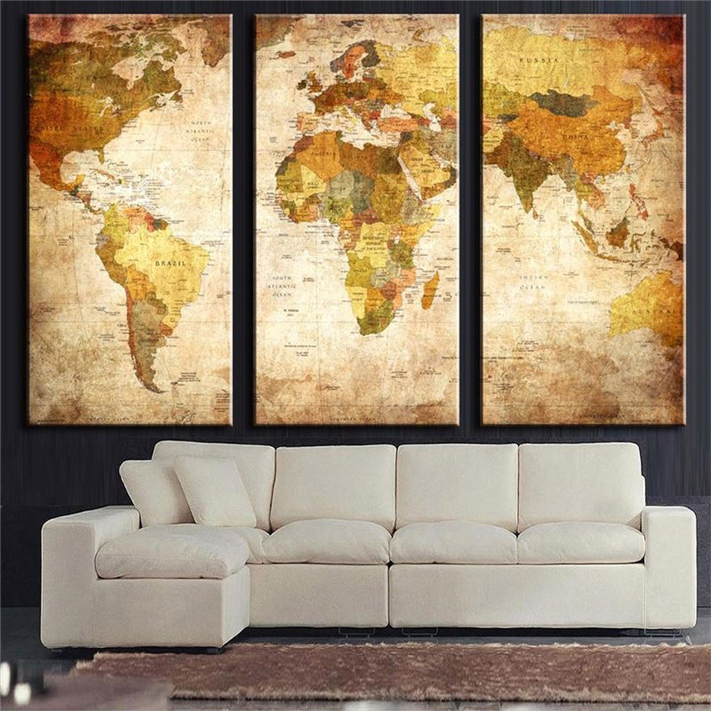 3 Panel Vintage World Map Canvas Painting Oil Painting Print On Canvas Home Decor Wall Art Wall Picture For Living Room Unframed(China (Mainland))